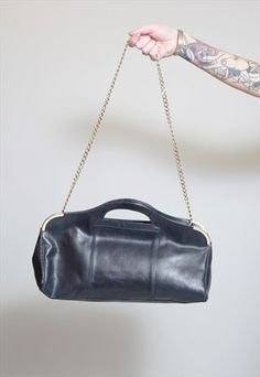 Vintage 1980's Navy Blue Chain Strap Leather Handbag