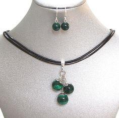 Natural Gemstone Green Malachite Cluster Pendant Necklace Earrings Chakra USA  #Handmade #Cluster