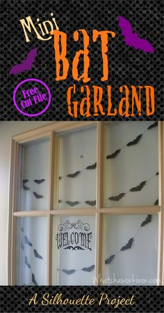 Mini bat garland for Halloween. Perfect size for the front door or window. Free Silhouette cut file with instructions.   Whatchaworkinon.com