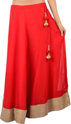 Buy Georgette Red Gotta Patti Skirt with Tassel by Purple Oyster Online at Xarato.com