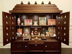 We build custom pooja mandirs in various sizes and provide many custom options based on your desires to make your pooja mandir unique and special to you. Wooden Temple For Home, Temple Design For Home, Altar, Mandir Design, Pooja Room Door Design, Beautiful House Plans, Cupboard Design, Design Kitchen, Puja Room