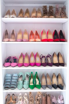 A shoe dream! http://www.stylemepretty.com/living/2016/11/22/peek-inside-the-dream-closet-turned-office-of-a-fashion-blogger/