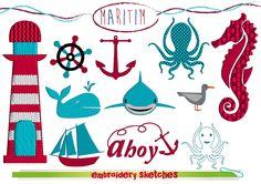 SET (x 33 ) Maritim Stickdatei Seepferd Anker Wal  von EmbroiderySketches auf DaWanda.com