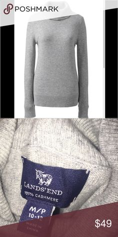 Lands End Cashmere Turtleneck Sweater Petite 10/12 Lands End 100% Cashmere Grey Turtleneck Sweater. Size Petite Medium, 10/12. Features Falls to mid hip Fold-over ribbed turtleneck, ribbed cuffs and hem  100% soft, lush cashmere Dry clean or hand wash Imported Lands' End Sweaters