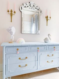 Baby Blue Bedrooms, Blue Nursery Girl, Blue And Gold Bedroom, Baby Boy Rooms, Girl Dresser, Nursery Dresser, Girls Bedroom Furniture, Blue Furniture, Pink Accent Walls