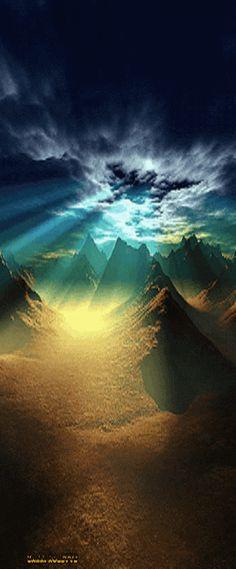 sky clouds mountains sea ~ night
