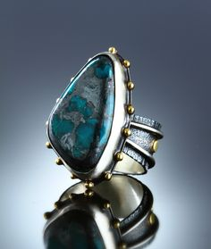 Chrysocolla & Hematite Ring. Fabricated Sterling Silver & 18k. www.amybuettner.com