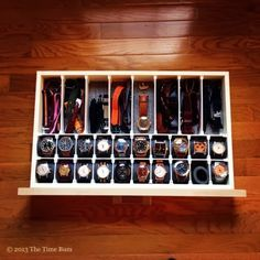 There comes a time when your watch collection outgrows your nightstand. So you put them in the valet on top of your dresser, but that does. - swiss watches for sale, online watches for mens, women's watches *ad Watch Organizer, Watch Storage, How To Make Watch, Diy Drawers, Watch Box, Men Watch, Watch Case, Master Closet, Closet Organization