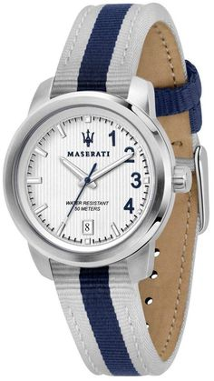Features: Stainless Steel Case Nylon Strap Quartz Movement Caliber: Mineral Crystal White Dial Analog Display Date Display Screw Down Crown Solid Case Back Buckle Clasp Water Resistance Approximate Case Diameter: Approximate Case Thickness: Maserati, Italian Style, Automatic Watch, Stainless Steel Case, Krystal, Quartz, Watches, Accessories, Jewelry