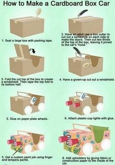 """to build a cardboard car.Perfect for our """"Drive-In Movie"""" Night!How to build a cardboard car.Perfect for our """"Drive-In Movie"""" Night! Projects For Kids, Diy For Kids, Kids Crafts, Car Crafts, Movie Crafts, Kids Fun, Craft Activities, Toddler Activities, Diy Home"""