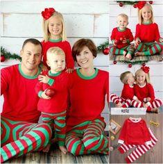 2e9664e216 2017 Christmas Set Xmas Kids Adult Family Matching Outfits Long Sleeves  T-shirt Pants Striped Pajamas Sleepwear Nightwear Free Shipping 914