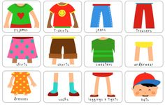 Clothing labels for kids cupboards. Can laminate or stick on.
