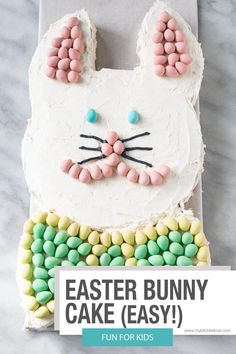 A super fun and easy Easter Bunny Cake. Decorate using Mini Eggs or with sprinkles. A really fun treat to make with kids. Easy Easter Desserts, Easter Dishes, Easter Snacks, Easter Treats, Easter Recipes, Holiday Recipes, Dessert Recipes, Easter Food, Spring Recipes