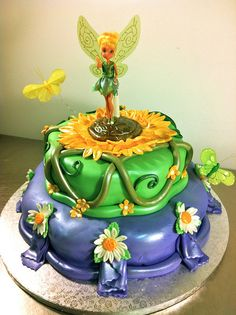 Tinkerbell Cake @Heather Roberts want to make me this cake for something :) <3