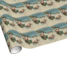 Vintage Santa's Sleigh and Reindeer Wrapping Paper $16.95