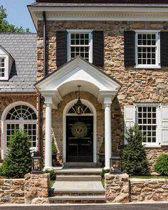 Period Architecture - Colonial Revival Pennsylvania Farmhouse with Traditional Portico Colonial, House Shutters, White Shutters, Exterior Shutters, Louvered Shutters, Custom Shutters, Raised Panel Shutters, Stone Houses, Trendy Home