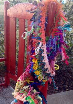 Hand made, one of a kind, multi colored crochet scarf. Hobo style yarn scarf.