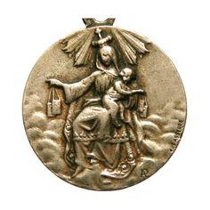 Notre Dame du Carmel Sacré coeur de Jésus Antique Sterling religieux... (€62) ❤ liked on Polyvore featuring jewelry, antique jewelry, lasserre and antique jewellery