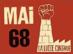 Number 68. Mai 68 La lutte continue,  French political poster from May 1968 - the struggle continues. Mhttp://archives.tregor.free.fr/Mai1968/mai68.html