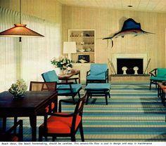 Beach house living room with ceramic-tile floor, 1967