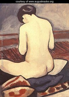 Sitting Nude with Cushions (Sitzender Akt mit Kissen)  1911 - August Macke - www.augustmacke.org   Oh, She is beautiful. I imagine she is on a beach with her knitting in her hands.  Just looking down at a stitch, for a brief moment, before looking out at her Little Ones or watching the waves met the shoreline.
