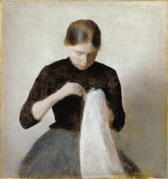 Vilhelm Hammershøi  Young Girl Sewing, 1887  Woman Seen from the Back - 1888  Girl Pouring Tea - 1884