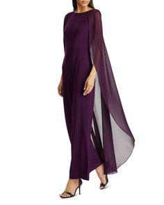 Lauren Ralph Lauren Cape-Overlay Jumpsuit - Exclusive - Purple If you like Fashion Checkout our Roku Channel! Stylish Dresses, Simple Dresses, Beautiful Dresses, Hijab Fashion, Fashion Dresses, Ralph Lauren Womens Clothing, Plain Wedding Dress, Mother Of Groom Dresses, Mob Dresses