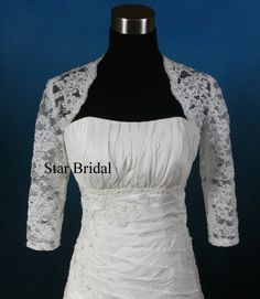 3/4 Sleeve Ivory Lace Wedding Bridal Bolero Jacket by StarsBridal, $58.00