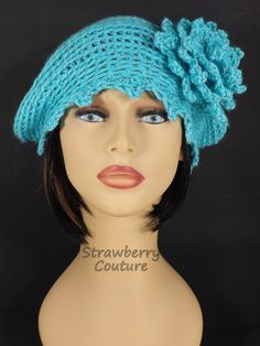 Crochet Hat, Womens Hat, Cloche Hat, Crochet Flower, Womens Crochet Hat, Turquoise Hat, Steampunk Hat, EVE Cloche Hat bystrawberrycouture by strawberrycouture