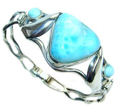 $279.95 Great+AAA++quality+Blue+Larimar+Oxidized++highly+polished+Sterling+Silver+handmade++Bracelet+/+Cuff at www.SilverRushStyle.com #bracelet #handmade #jewelry #silver #larimar