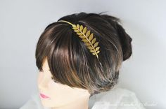 Gold Leaf HeadbandGrecian HeadbandHoliday by BeadsBroochesBridal, $26.90