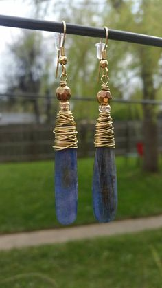 Check out this item in my Etsy shop https://www.etsy.com/listing/277076448/kyanite-stone-drop-earrings