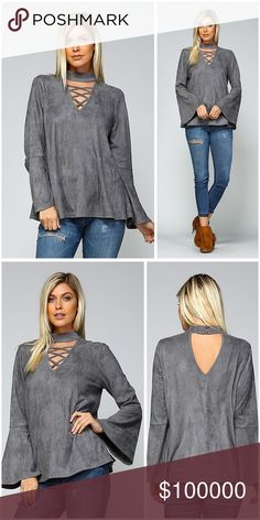 On the way! Faux suede cross cross choker top! Exquisite piece in gray faux suede with bell sleeves criss cross choker top - keyhole back - button closure top - stunning Tops