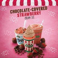 Our delicious Chocolate-Covered Strawberry Cream Ice products are perfect for Valentine's Day. #valentines #happyvalentines #ritas #ritasicemaplegrove #maplegroveritas