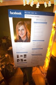 Facebook Profile: easy costume- print poster size or bigger at local shop and mount on foam core with spray glue.