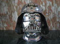 Darth vader made of recycled cans by artist Macaon