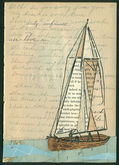 Sail Away With Me Honey/ Small Original Art on by amyriceart