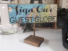 Check out this item in my Etsy shop https://www.etsy.com/ca/listing/556301443/sign-our-guest-globe-travel-themed