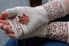 Ravelry: Ironwork Mitts pattern by Jennifer Hagan . interesting juxtaposition of title and delicate colorwork Knitted Mittens Pattern, Knit Mittens, Knitting Socks, Knitting Patterns, Wrist Warmers, Hand Warmers, Fingerless Gloves Knitted, Knitting Accessories, Hand Dyed Yarn