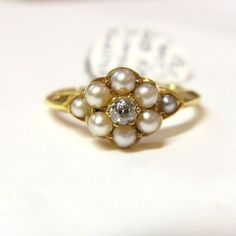 Antique Edwardian 18ct Gold, Seed Pearl and Old Cut Diamond Ring