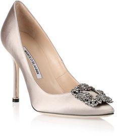 4ec9591814b Manolo Blahnik Hangisi satin pump light grey  shoes Silver Evening Shoes