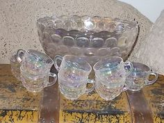 Vintage Bubbled Punch Bowl and 8 Matching by Daysgonebytreasures