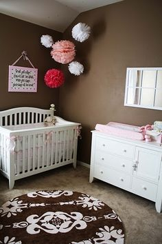 """Highlight in either """"boy"""" or """"girl"""" colors Nursery Room, Girl Nursery, Nursery Crafts, Nursery Decor, Nursery Ideas, Kids Bedroom, Cute Little Girls, Little Girl Rooms, Baby Girls"""