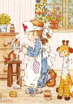 Holly Hobbie and Sarah Kay ruled in the late and early Diaries, stationary.even clothing got influenced by them. Sarah Key, Holly Hobbie, Illustrations Vintage, Illustration Art, Mary May, Thomas Kinkade, Crazy Cat Lady, Vintage Cards, Vintage Children