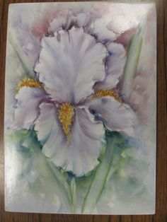 How to paint an Impressionistic Iris in step by step video lesson by Chris Ryder, Bala, Wales china paint