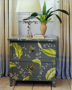 Beautiful decoupaging cupboard furniture design. Would love to do this w our old dresser