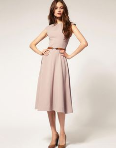 ASOS | ASOS Midi Dress With Contrast Belt at ASOS