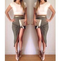 Green Skirt White Top
