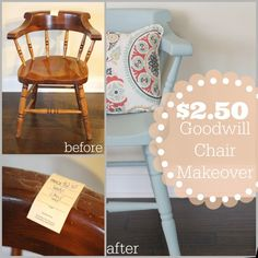 great wooden chair makeover with just chalk paint and cute pillow