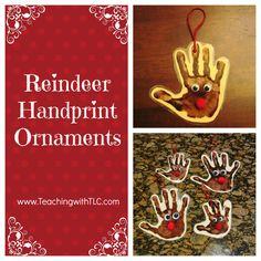 ADORABLE Reindeer Handprint Ornaments